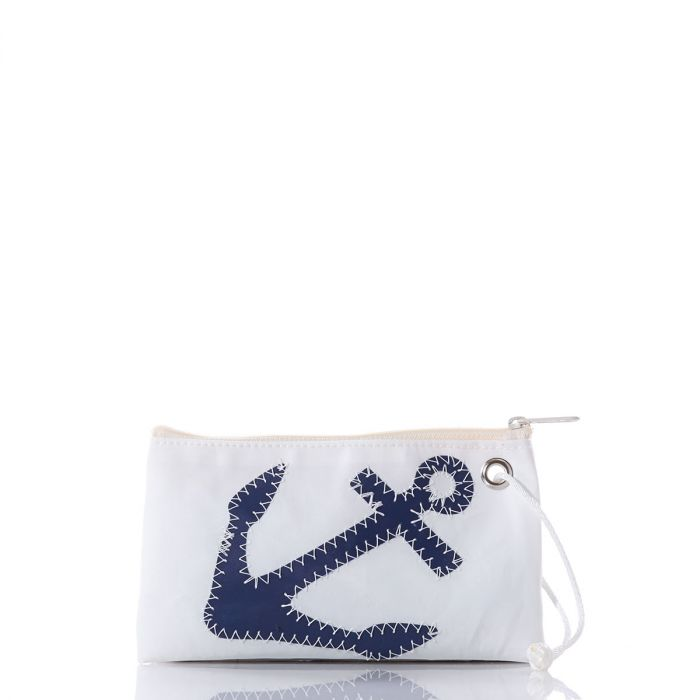 Navy Anchor Small Wristlet