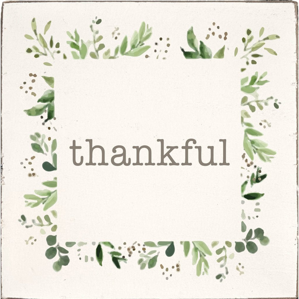Thankful Greenery Vintage Sign
