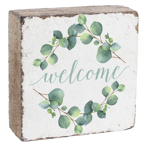 Welcome Square Rustic Block