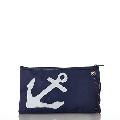 White on Navy Anchor Large Wristlet
