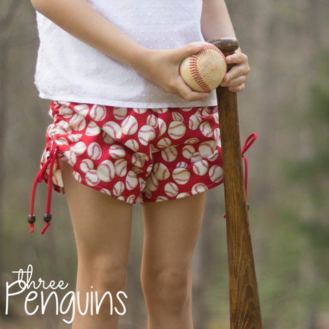 Take Me Out to the Ball Game Shorts in Red- PRE-ORDER