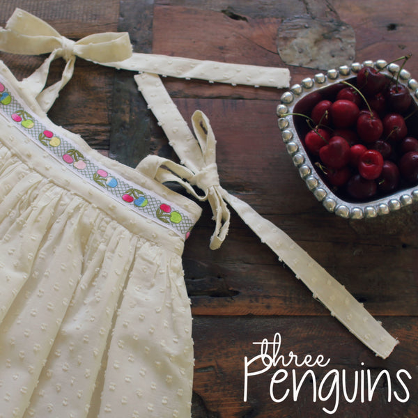 Vintage Cherries in Ivory- Size 2/3 (Last one!)