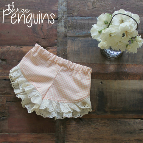 Shorts- Peachy-Pink Gingham with Cherry Eyelet- Size 6/7