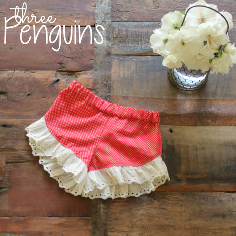 Shorts- Red & Ivory Cherry Trim- Size 12-18 months (Last one!)