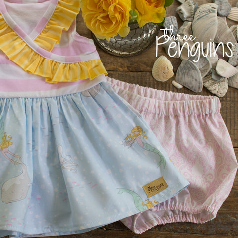 Blue Mermaid Bloomer Set- Size 2/3