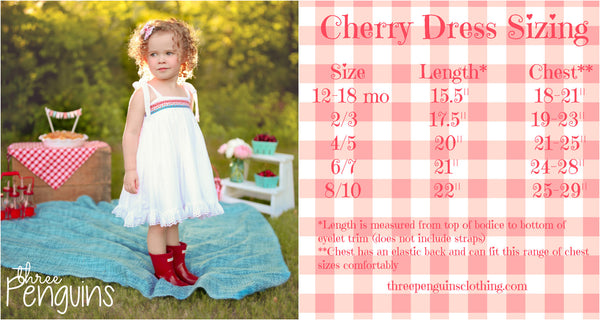 Cherries in Pink, White & Blue- Sizes 12-18mo, 2/3, & 8/10