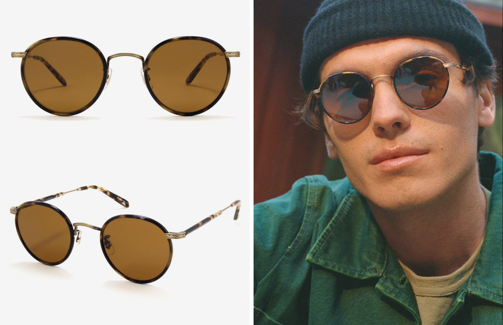 Garrett Leight // Wilson in Tortoise-Antique Gold II-Yellow Tortoise with Semi-Flat Pure Brown Lenses