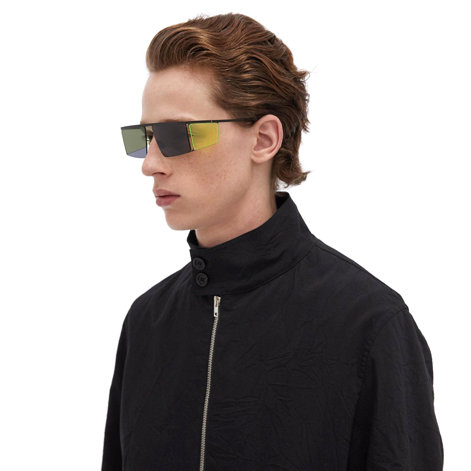 MYKITA x Helmut Lang // HL001 in Black/Fluo Yellow Sides with Dark Grey Solid Lenses