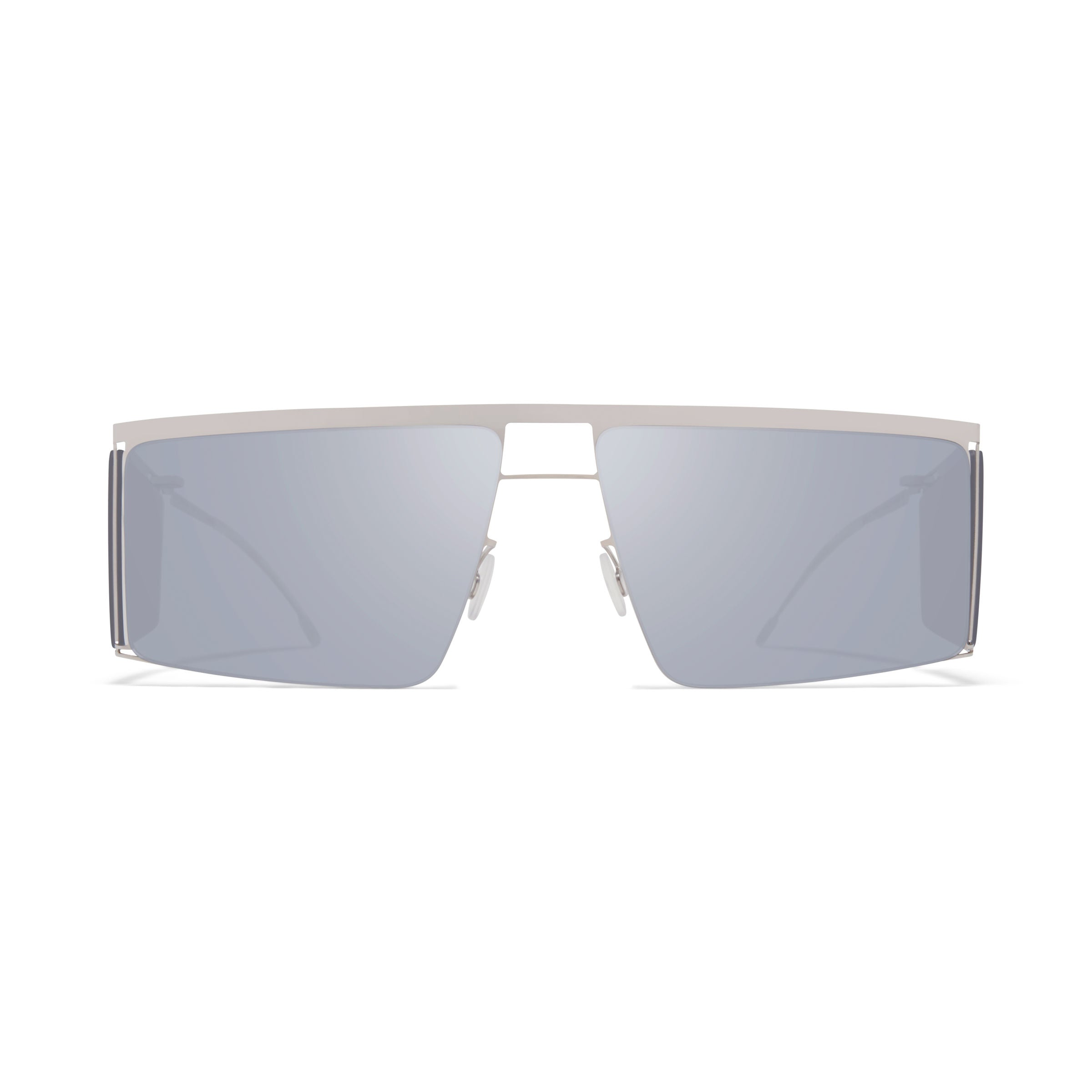 MYKITA x Helmut Lang // HL001 in Shiny Silver/Soft Grey Sides with Silver Flash Lenses