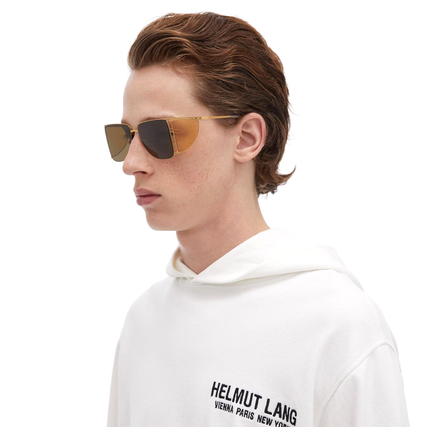 MYKITA x Helmut Lang // HL002 in Frosted Gold/Jelly Yellow Sides with Raw Brown Solid Lenses