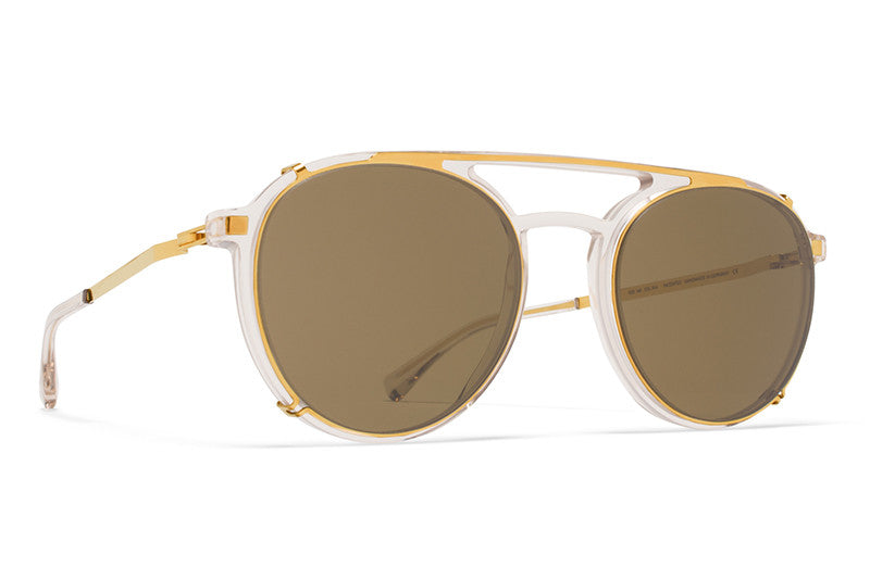 MYKITA Sunglasses | Miki in Champagne with Glossy Gold Clip on Shades