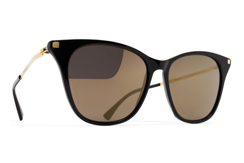 MYKITA Sunglasses | Nilak in Black/Glossy Gold with Brilliant Grey Solid Lenses