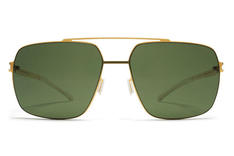 MYKITA Sunglasses | Landon in Glossy Gold with MY+ Fern Polarized Lenses