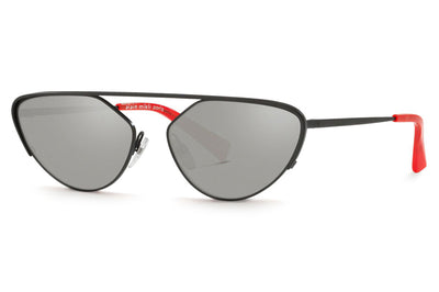Alain Mikli - A04012 Sunglasses Matte Black with Silver Mirror Lenses