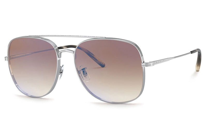 Oliver Peoples - Taron (OV1272S) Sunglasses Silver with Soft Tan Gradient Mirror Lenses