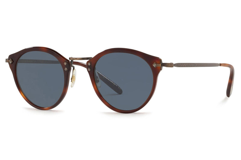 Oliver Peoples - OP-505 (OV5184S) Sunglasses Dark Mahogany-Bronze with Blue Lenses