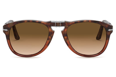 Persol - PO0714 Folding Sunglasses Brown Tortoise with Clear Gradient Brown Lenses (112151)