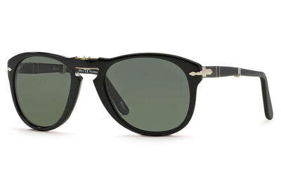 Persol - PO0714 Folding Sunglasses Black with Green Polar Lenses (95/58)