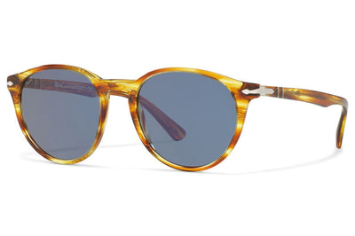 Persol - PO3152S Sunglasses Brown Striped Yellow with Light Blue Lenses (904356)