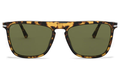 Persol - PO3225S Sunglasses Brown/Beige Tortoise with Green Lenses (10564E)