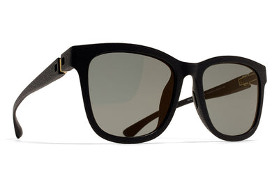 MYKITA Mylon Sunglasses - Levante MD1 - Pitch Black with Light Gold Flash Lenses