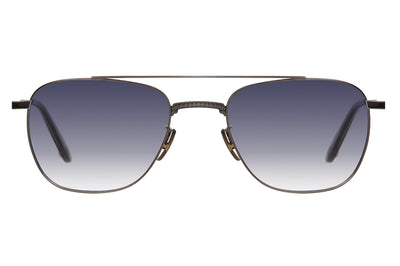 Garrett Leight® - Riviera Sunglasses Gunmetal-Grey Crystal with Grey Gradient Layered Mirror Lenses