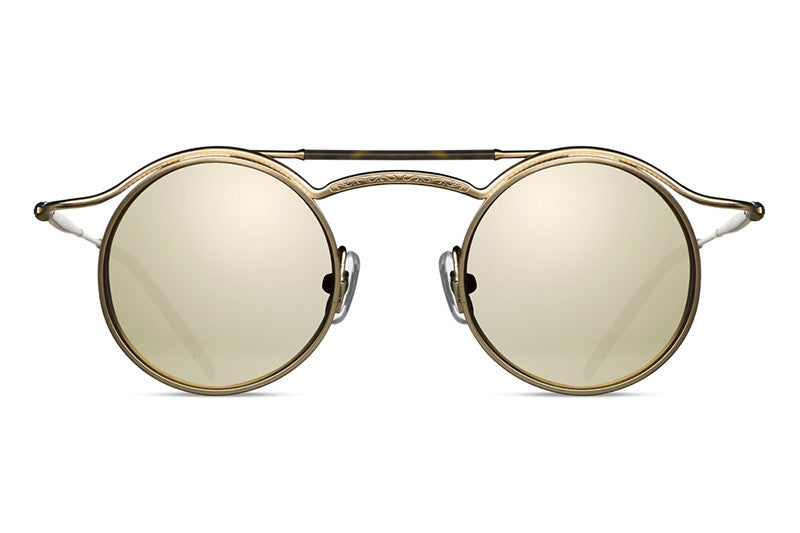 Matsuda Sunglasses - 2859H Matte Gold Plated w/ Gold Mirror Lens Front