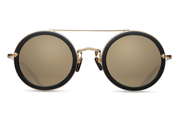 Matsuda Sunglasses - M3039 Matte Black/Matte Gold Plate with Gold Mirror Lens Front