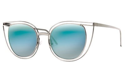 Thierry Lasry - Eventually Sunglasses Silver w/ Blue Mirror Lenses (500)
