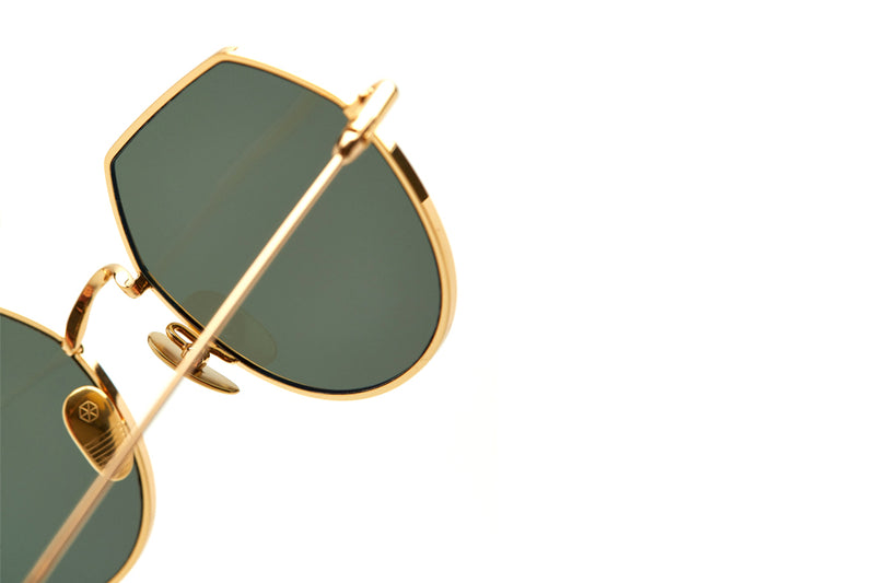 Kaleos Eyehunters - Charles Sunglasses Gold with Green Lenses