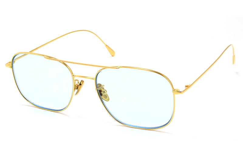 Cutler & Gross - 1267 Sunglasses Gold Plated with Pale Light Blue Lenses