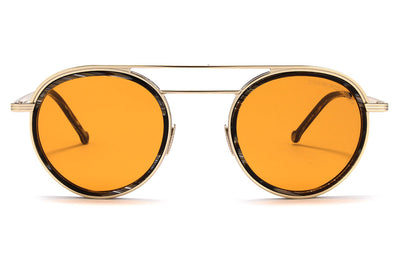 Cutler & Gross - 1270 Sunglasses Gold and Black Horn with Orange Lenses