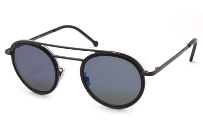 Cutler & Gross - 1270 Sunglasses Black and Matte Black with Blue Flash Lenses