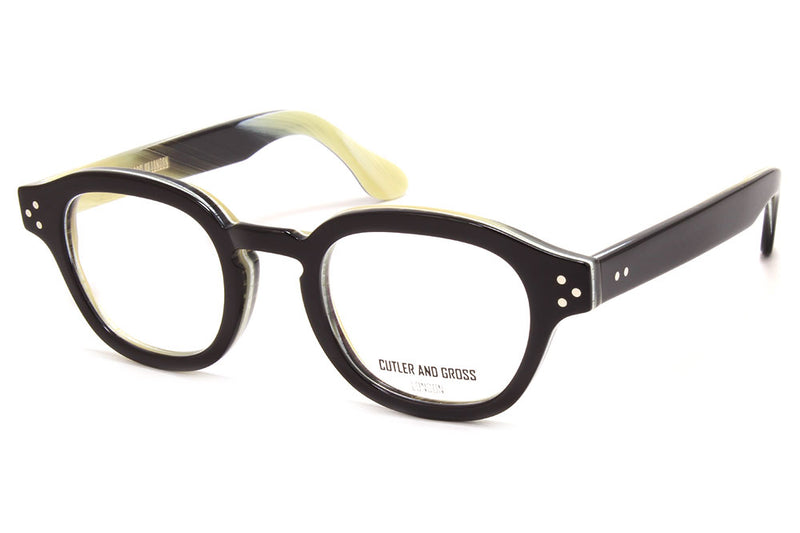 Cutler & Gross - 1290 Eyeglasses Black on Grey Horn