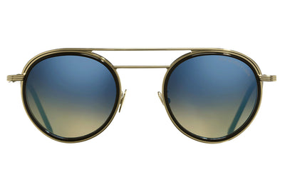 Cutler & Gross - 1270 Sunglasses Gold and Black with Blue Flash