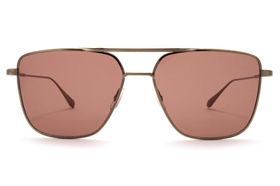 Garrett Leight® - Convoy Sunglasses Brushed Gold-Champagne with Semi-Flat Warm Brown Lenses