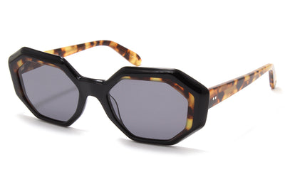 Garrett Leight® - Jacqueline Sunglasses Black-Dark Tortoise with Semi-Flat Black Lenses