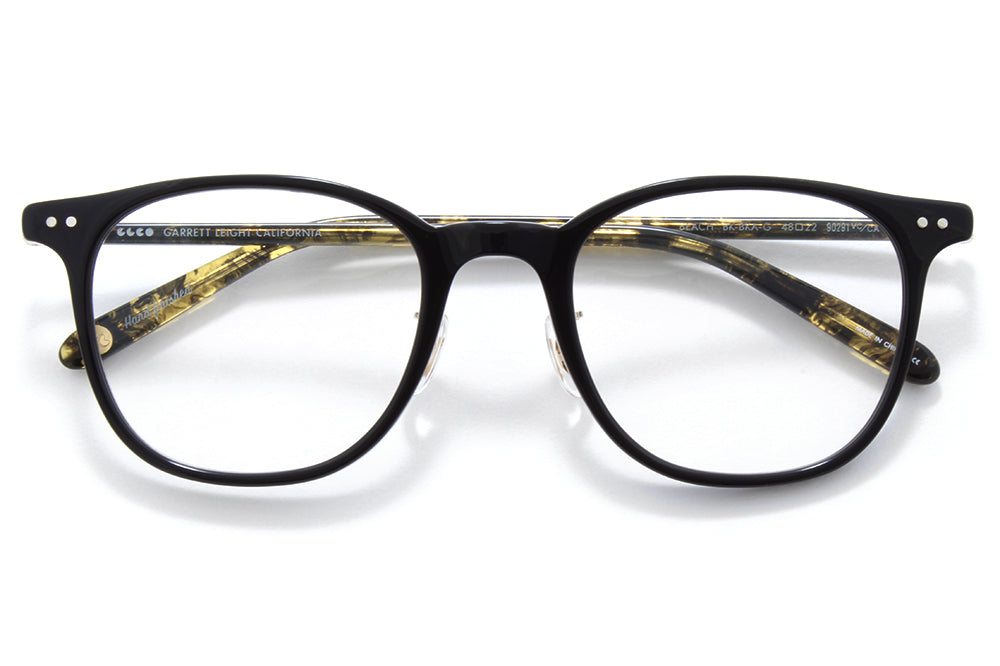 Garrett Leight - Beach Eyeglasses Black-Black Amber-Gold