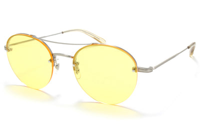 Garrett Leight® - Beaumont Sunglasses Brushed Silver-Champagne with Shooter Yellow Lenses