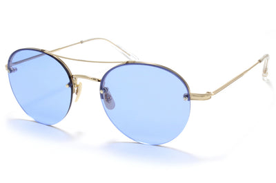 Garrett Leight® - Beaumont Sunglasses Gold-Crystal with Blue Magic Lenses