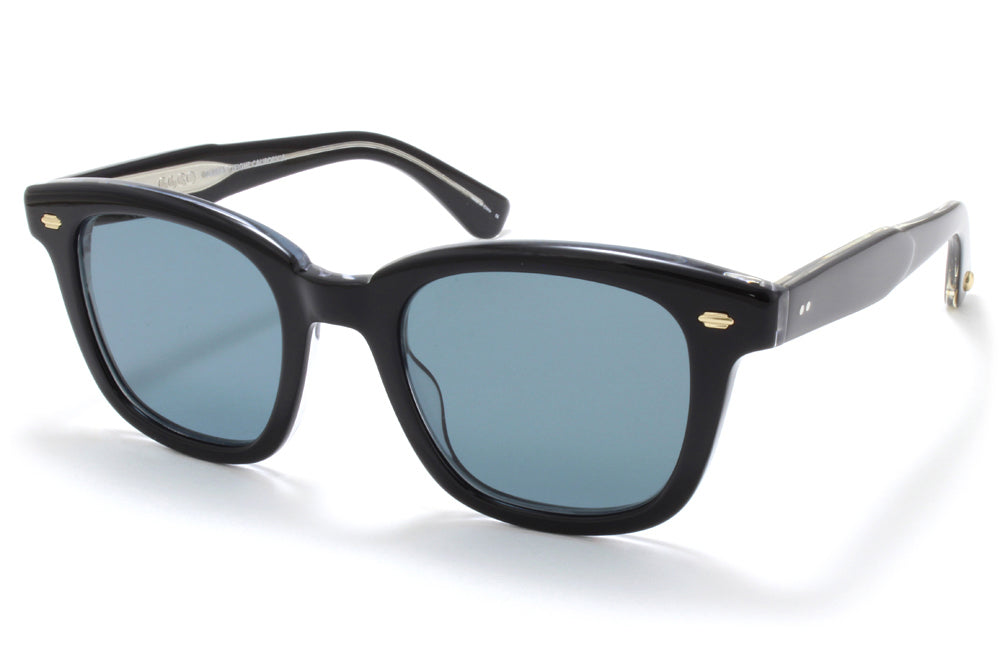 Garrett Leight® - Calabar Sunglasses Black Laminate Crystal with Semi-Flat Blue Smoke Lenses