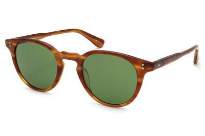 Garrett Leight - Clement Sunglasses Matte Honey Amber Tortoise with Pure Green Lenses