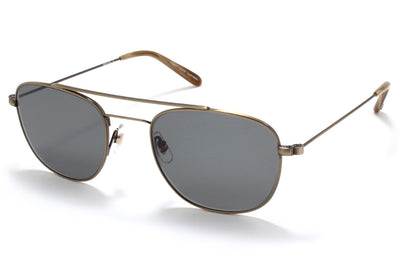Garrett Leight® - Club House Sunglasses  Antique Gold-Dark Wave Rock with Semi-Flat G15 Lenses