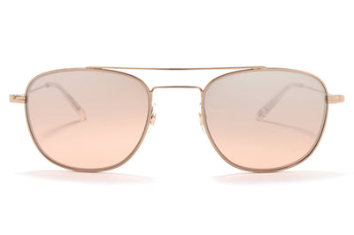 Garrett Leight® - Club House Sunglasses Rose Gold-Nude with Semi-Flat Blush Shadow Mirror Lenses