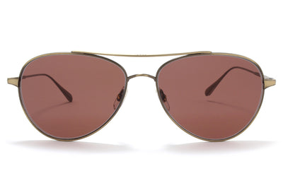 Garrett Leight® - Culver Sunglasses Brushed Gold with Semi-Flat Redwood Lenses