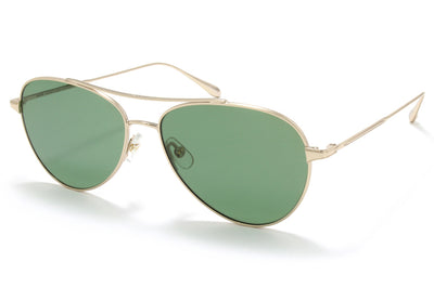 Garrett Leight® - Culver Sunglasses Gold with Semi-Flat Pure Green Lenses