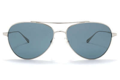 Garrett Leight® - Culver Sunglasses Silver with Semi-Flat Blue Smoke Lenses