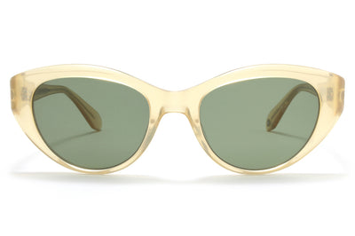 Garrett Leight® - Del Rey Sunglasses Blonde with Semi-Flat Green Lenses