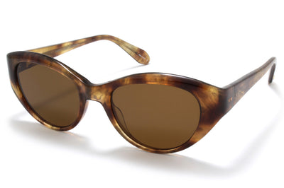 Garrett Leight® - Del Rey Sunglasses Feather Tortoise with Semi-Flat Sienna Lenses