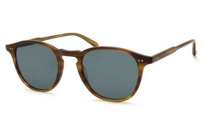 Garrett Leight® - Hampton Sunglasses Matte Saddle Tortoise with Semi-Flat Blue Smoke Lenses